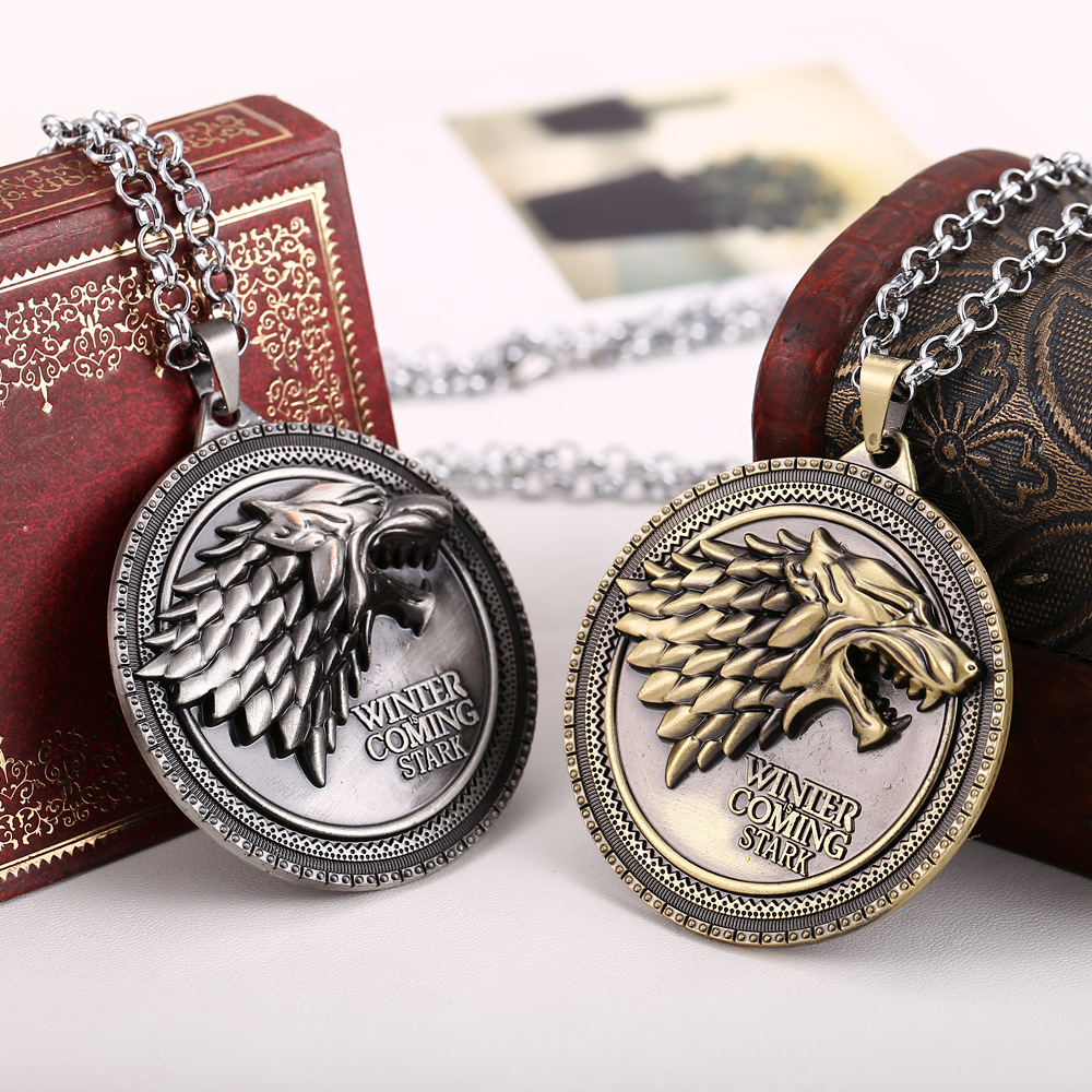 4 Styles Hbo Game Of Thrones Necklace House Stark Winter Is Coming Bronze 2 Metal Family Crest Pendant Jewelry Souvenirs Bling Bank